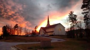 Our Church Building at Sunset